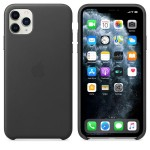 Чехол Apple Leather Case для iPhone 11 Pro Max (черный)