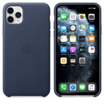 Чехол Apple Leather Case для iPhone 11 Pro Max (темно-синий)